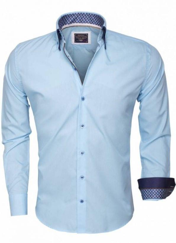 wam denim overhemd lange mouw 85261 turquoise