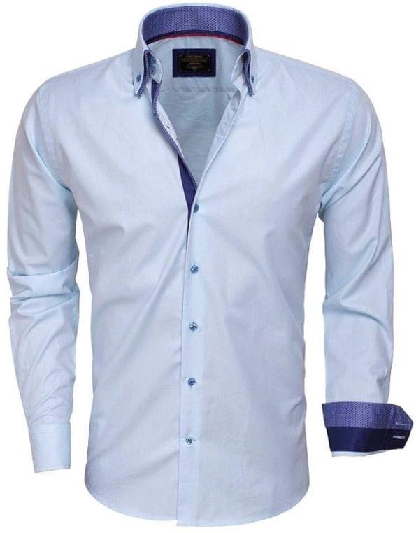 wam denim overhemden Italiaanse kwaliteits overhemden 75223 turquoise