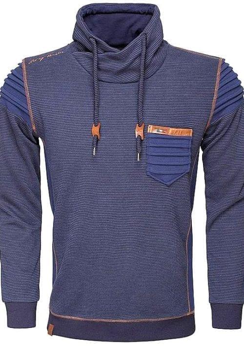 wam denim truien Hoge sjaal kraag 76143 sweater Blauw 2