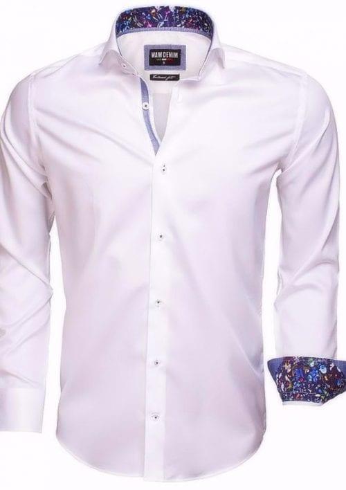 wam denim witte heren overhemd langemouw cut away boord bloemetjes motief in kraag wit 75524 3