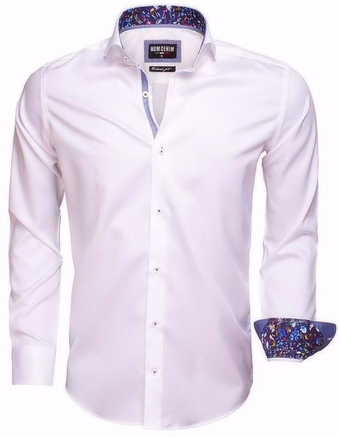 Wit Heren Overhemd.Wam Denim Wit Italiaans Overhemd Bloemetjes Motief 75524 Bendelli