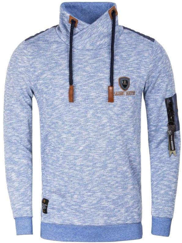 Gaznawi trui sweater sjaalkraag Royal blauw tunnelkoord voorkant 66006 Bendelli Herenmode
