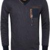 Gaznawi trui sweater v hals boord Arvada blauw peru met rits 66015 voorkant