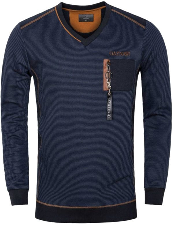 Gaznawi trui sweater v hals boord gestreept Arvada blauw indigo met rits 66015 voorkant