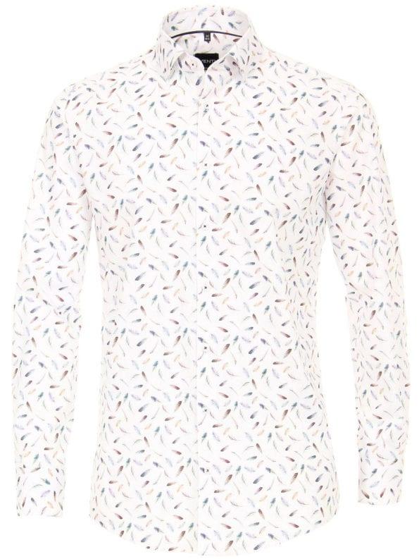 Venti overhemden heren strijkvrij edition modern fit poplin wit met veertjes motief 193134300 350 1