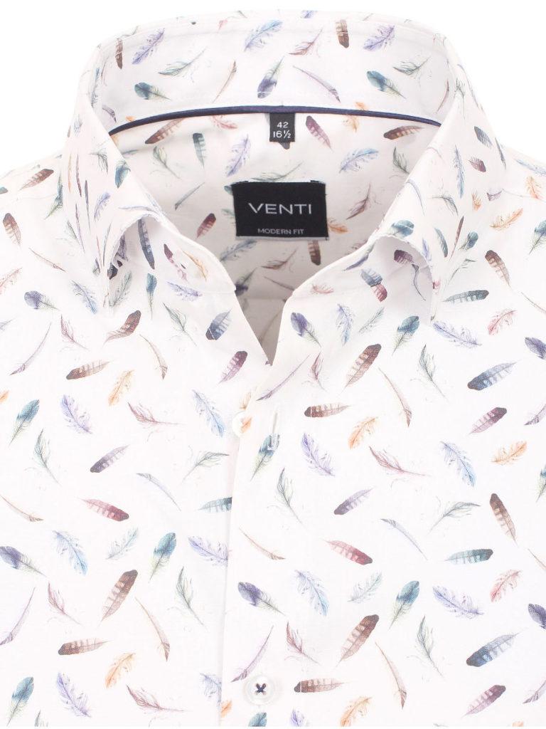 Venti overhemden heren strijkvrij edition modern fit poplin wit met veertjes motief 193134300 350 3