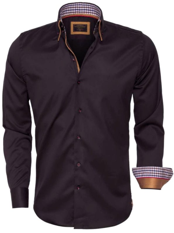 Wam Denim overhemden zwart dubbele boord Roma 75428 voorkant