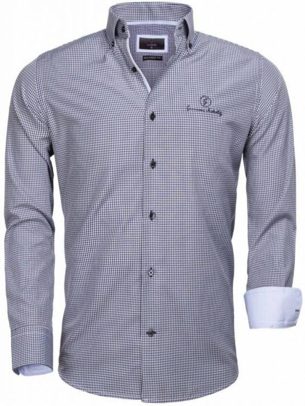 Gaznawi overhemd blauw geblokt motief logo op de borst 65026 Avellino voorkant