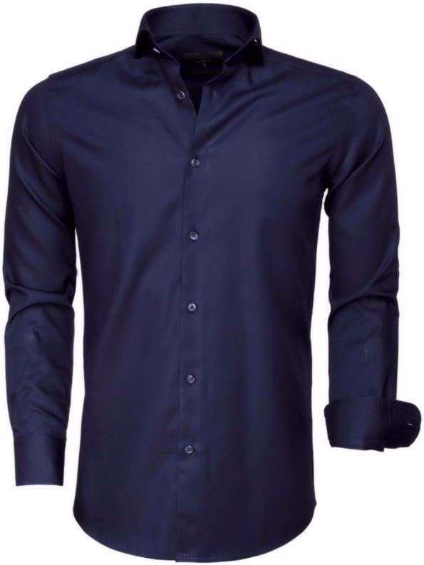 Gaznawi overhemd donkerblauw met motief 65007 dark navy Bolzano