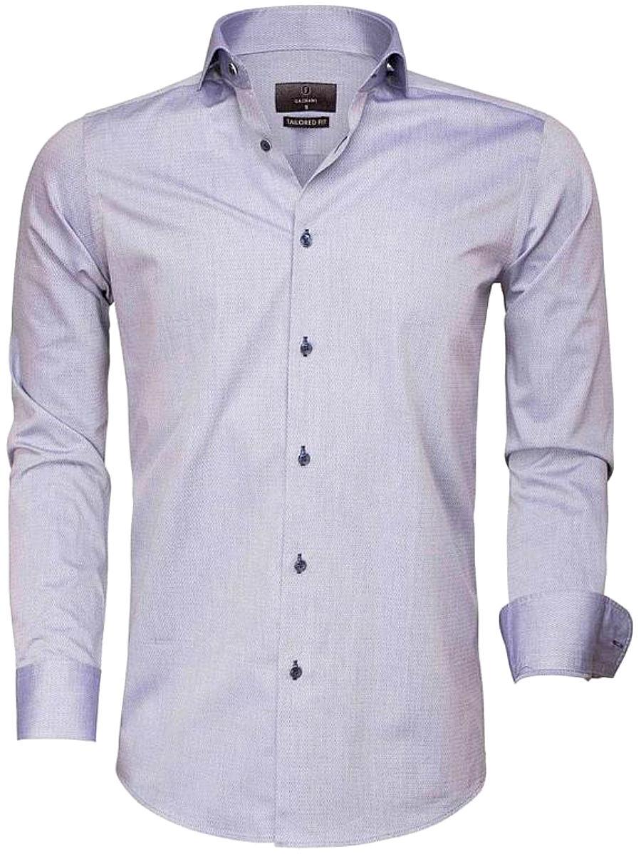 Overhemd Donkerblauw.Gaznawi Overhemd Dark Blue Tailored Fit Bolzano 65007