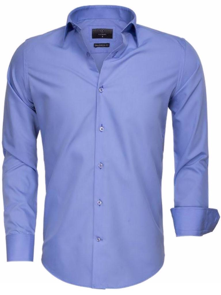 Gaznawi overhemd effen blauw lange mouewen 65008 dark blue voorkant