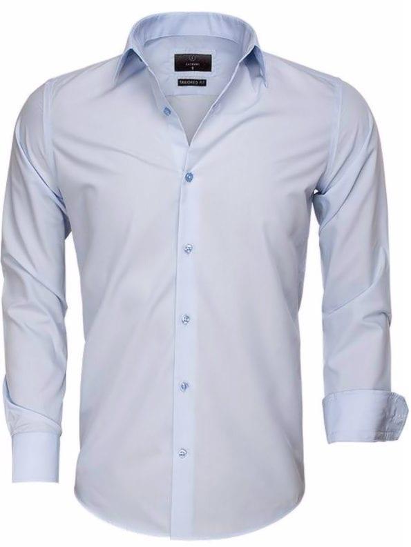 Gaznawi overhemd effen blauw lange mouwen 65008 blue voorkant