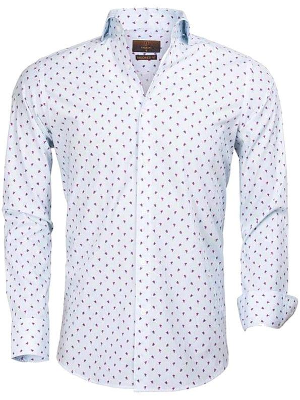 Gaznawi overhemd fushia met patroon lange mouwen 65000 Cagliari voorkant