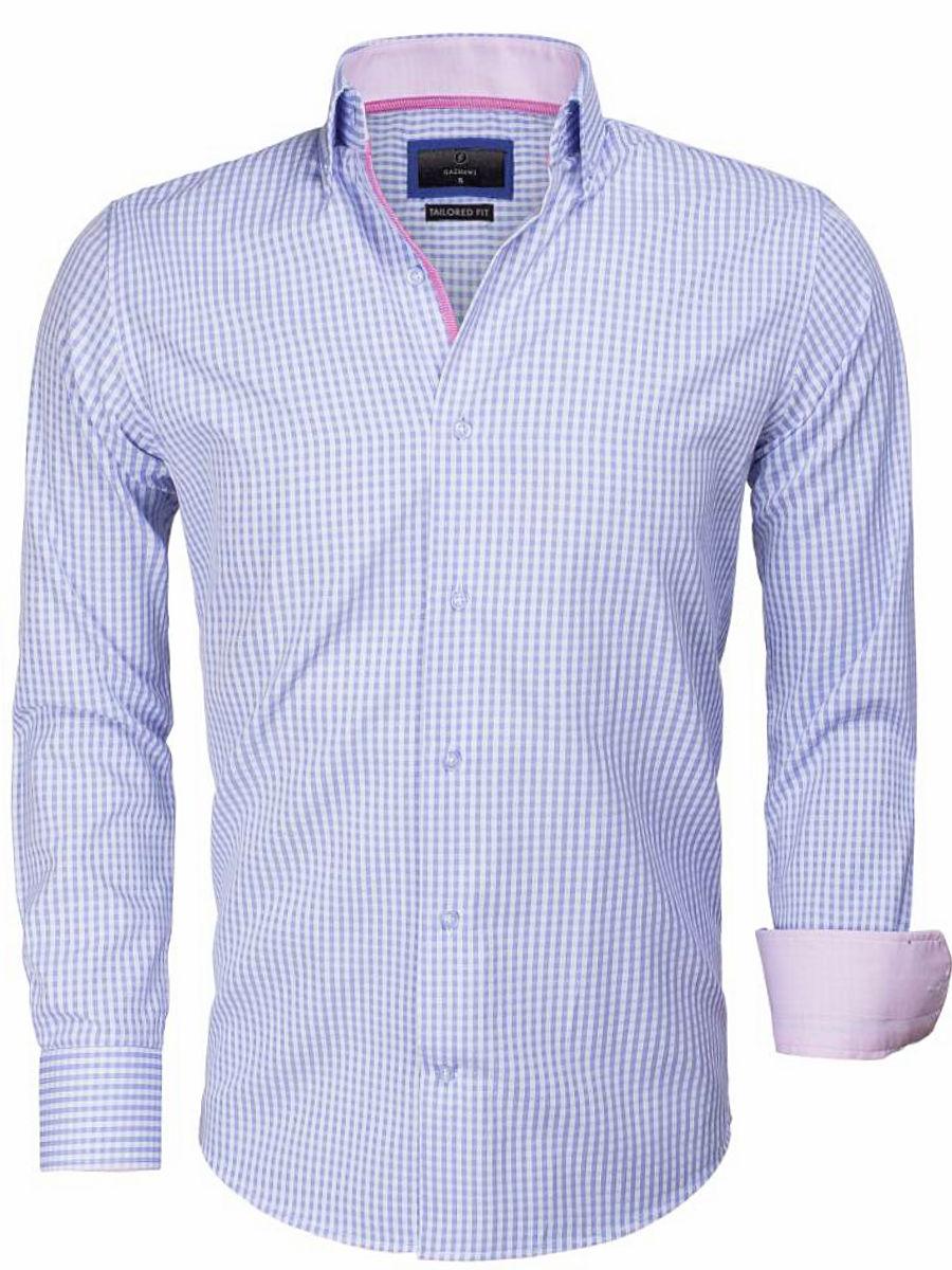 Tailored Fit Overhemd.Gaznawi Overhemd Lichtblauw Wit Geruit Tailored Fit Brescia 65014