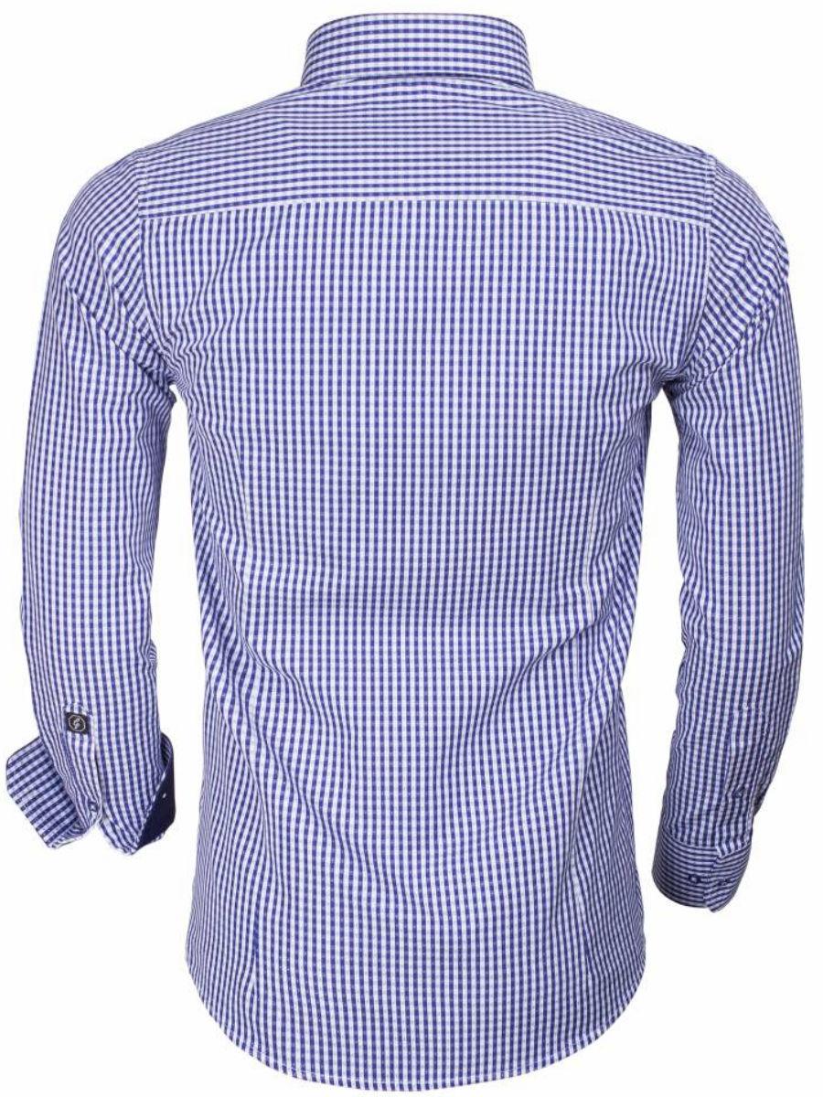 Maat 44 Overhemd.Gaznawi Overhemd Blauw Wit Geruit Tailored Fit Brescia 65014