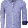 Gaznawi overhemd geblokt motief blauw 65014 light navy voorkant