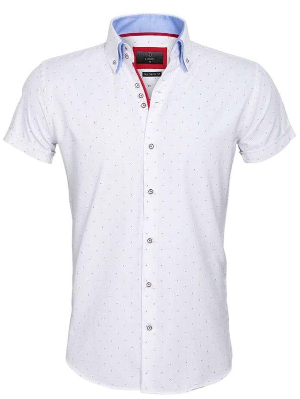 Gaznawi overhemd korte mouw italiaans dubbele boord White red 65028 Cuneo voorkant 1
