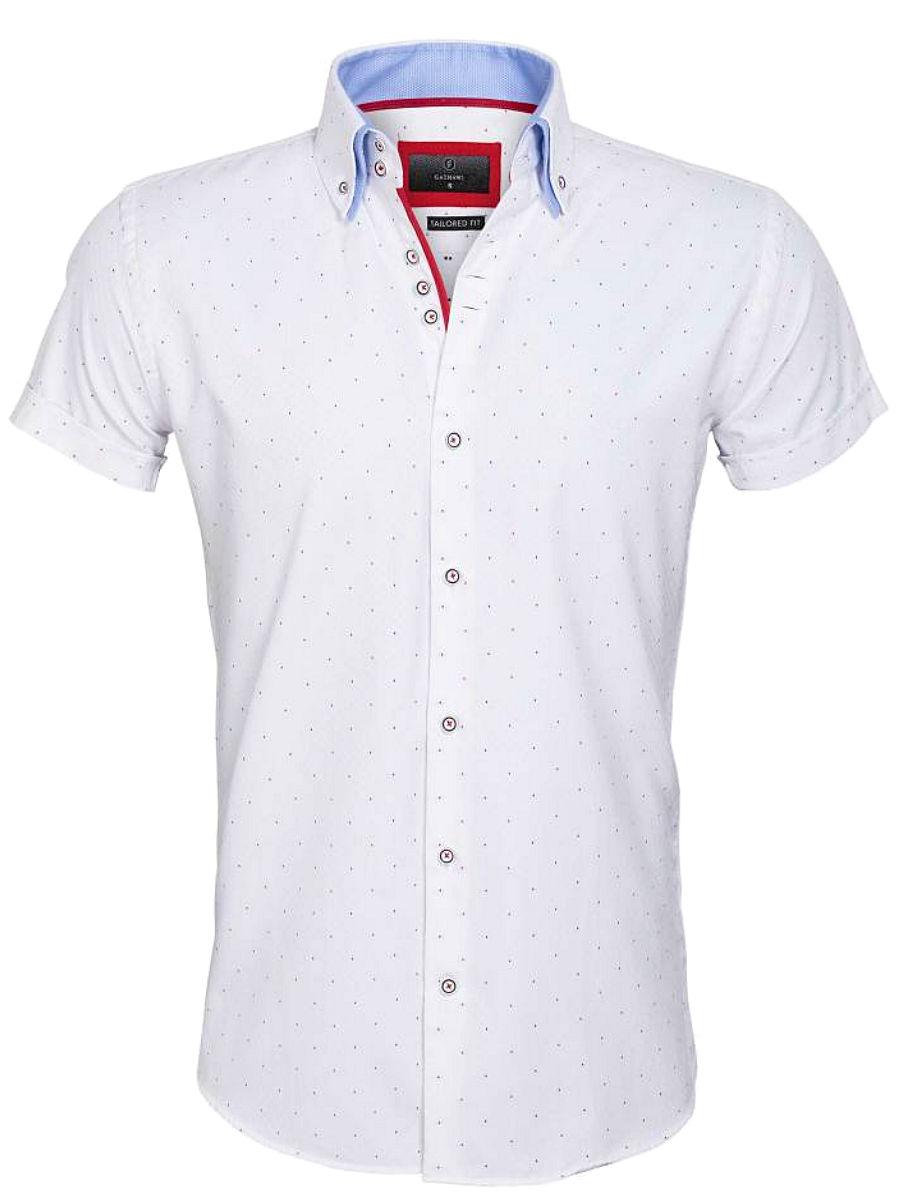 Rode Overhemd.Gaznawi Overhemd Korte Mouw Wit Rode Stip Cuneo 65028 Bendelli