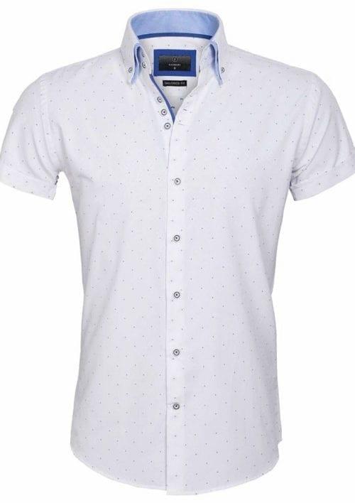 Gaznawi overhemd korte mouw italiaans dubbele boord White royal blue 65028 Cuneo voorkant