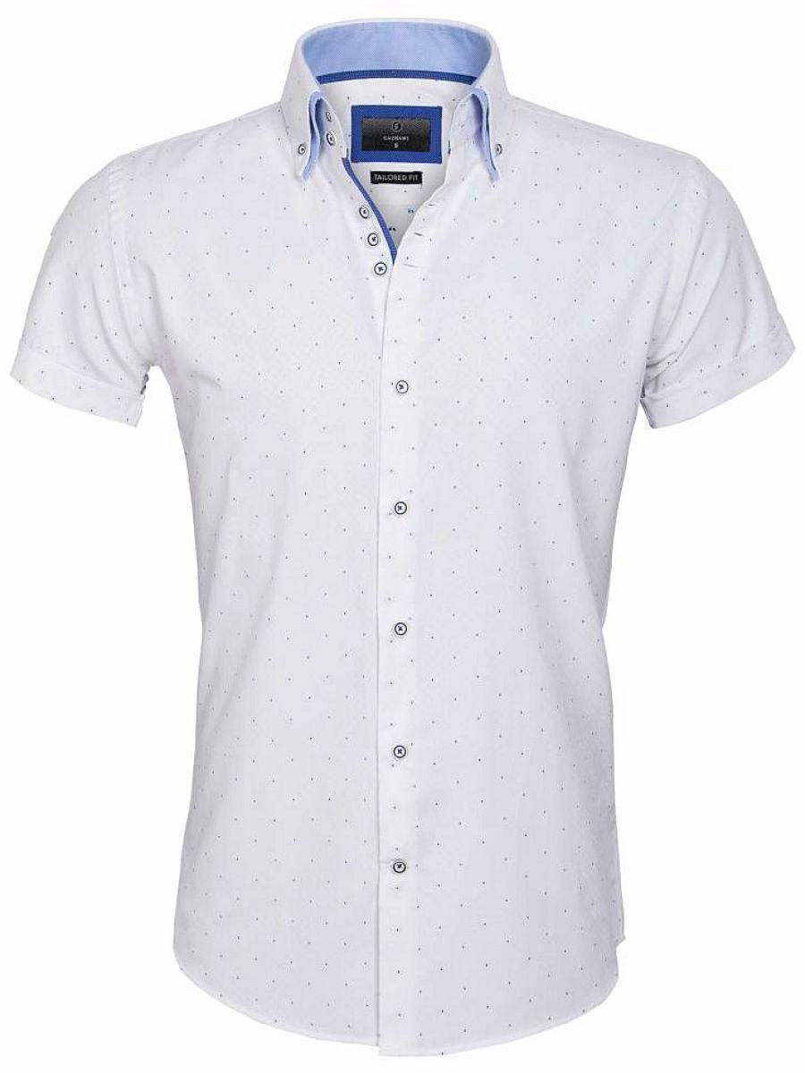 Overhemd Wit Korte Mouw.Gaznawi Overhemd Korte Mouw Wit Blauwe Stip Cuneo 65028 Bendelli