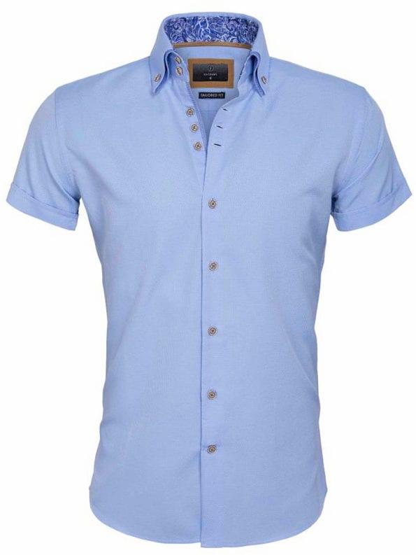 Gaznawi overhemd korte mouw italiaans dubbele boord blue 65018 Aeolian voorkant