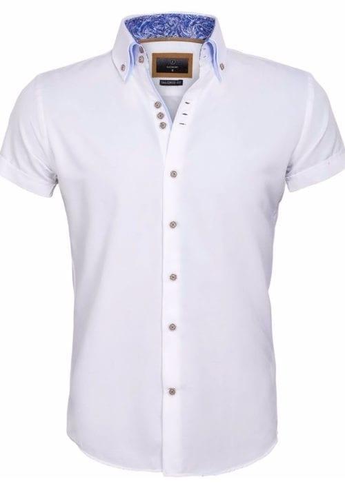 Gaznawi overhemd korte mouw italiaans dubbele boord wit 65018 Aeolian voorkant