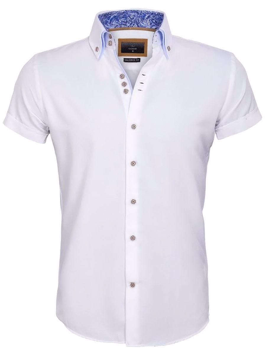 Overhemd Wit Korte Mouw.Gaznawi Overhemd Korte Mouw Wit Aeolian 65018 Bendelli