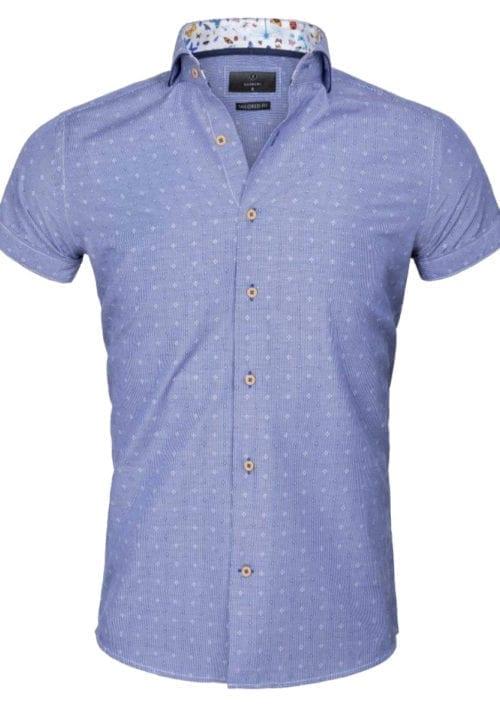 Gaznawi overhemd korte mouw italiaans royal blue 65037 Olbia voorkant