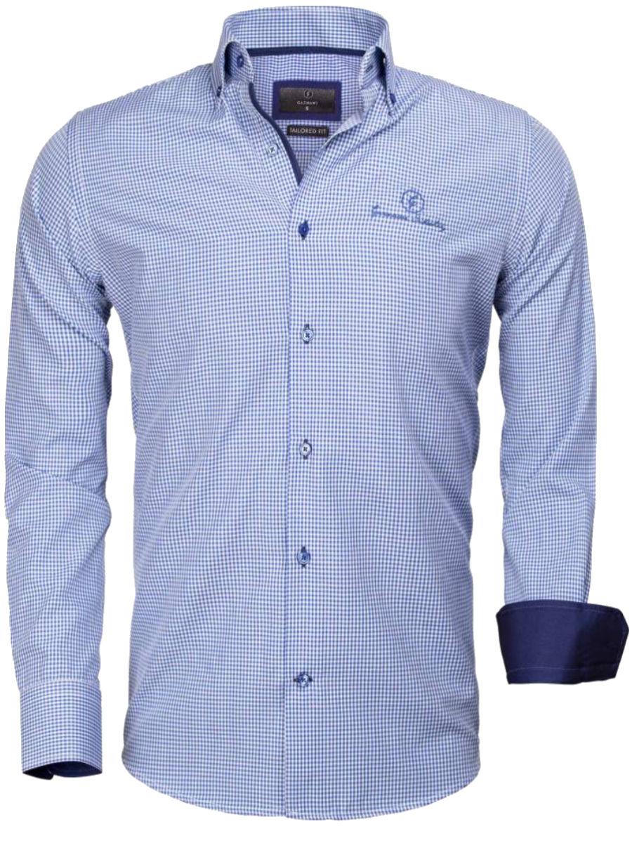 Geblokt Overhemd.Gaznawi Overhemd Lichtblauw Wit Geruit Tailored Fit Avellino 65026
