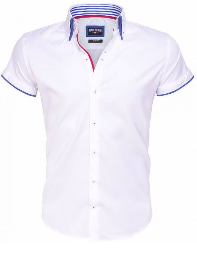 Overhemd Korte Mouw Heren Wam Denim Wit 1