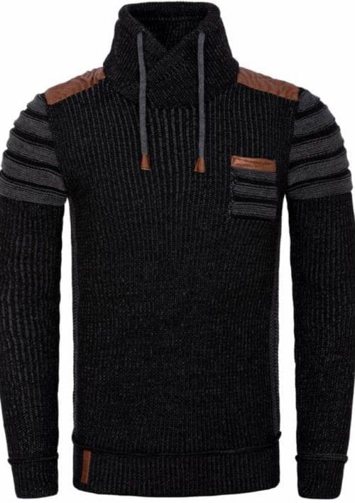 Wam Denim trui zwart antraciet met sjaalkraag 77509 voorkant
