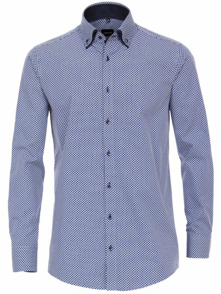 Venti overhemd blauw dubbele boord strijkvrij slimfit 193135600 100 1