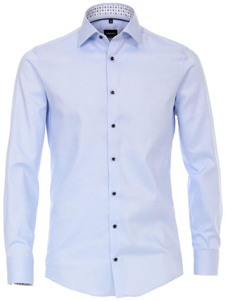 Venti overhemd blauw kent boord motief print strijkvrij slimfit shirt 193133600 100