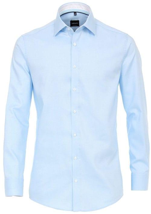 Venti overhemd blauw kent boord motief print strijkvrij slimfit shirt 193133600 350