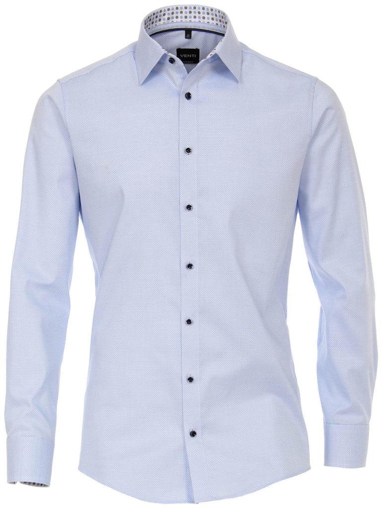 Venti overhemd blauw kent boord motief print strijkvrij slimfit shirt 193133700