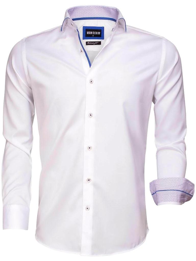 Wam Denim overhemd wit lange mouw tailored fit torino 75541 voorkant