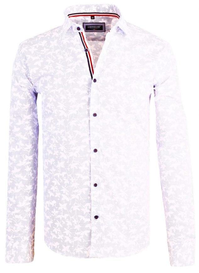 Bloemen overhemd heren Carisma-heren-overhemd-lange-mouw-shirt-gewerkt-blauw-blouse-8413-11-Groot