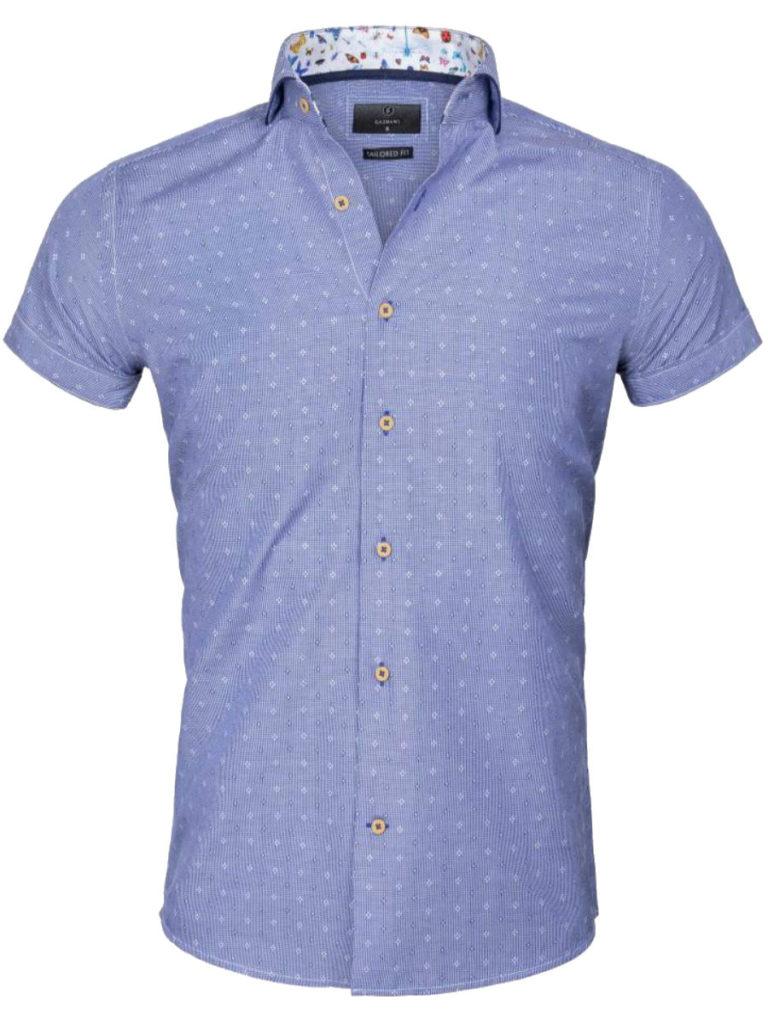 Bloemen overhemd heren Gaznawi-overhemd-korte-mouw-italiaans-royal-blue-65037-Olbia-voorkant