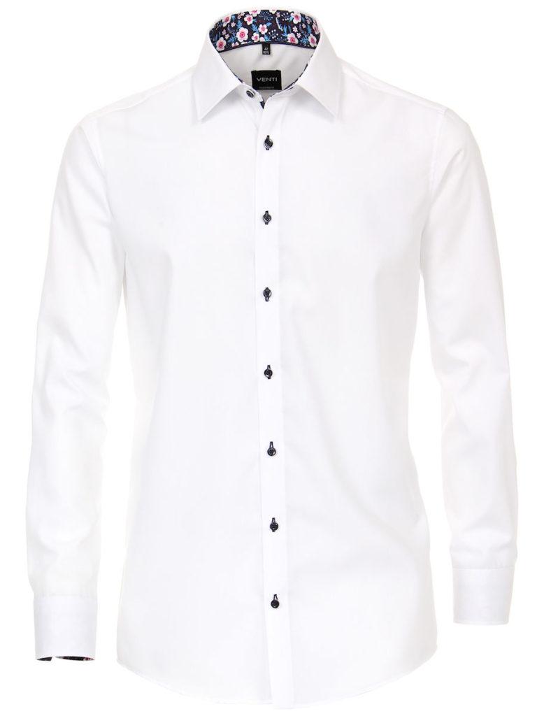 BloemenoverhemdherenVenti overhemd wit kent boord bloemenprint strijkvrij slimfit shirt