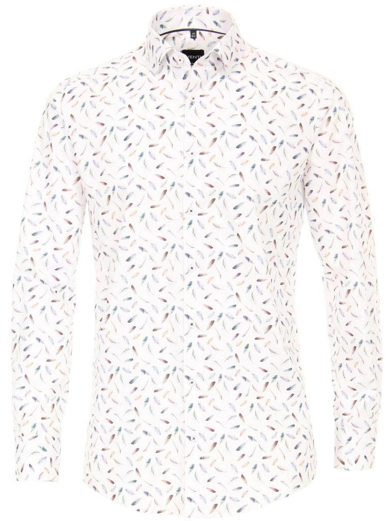 Bloemen overhemd heren Venti-overhemden-heren-strijkvrij-edition-modern-fit-poplin-wit-met-veertjes-motief-193134300-350-1
