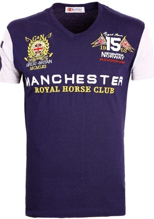 Geographical Norway Shirts t-shirt Blauw Jingston Manchester Buckingham Great Britain (2)