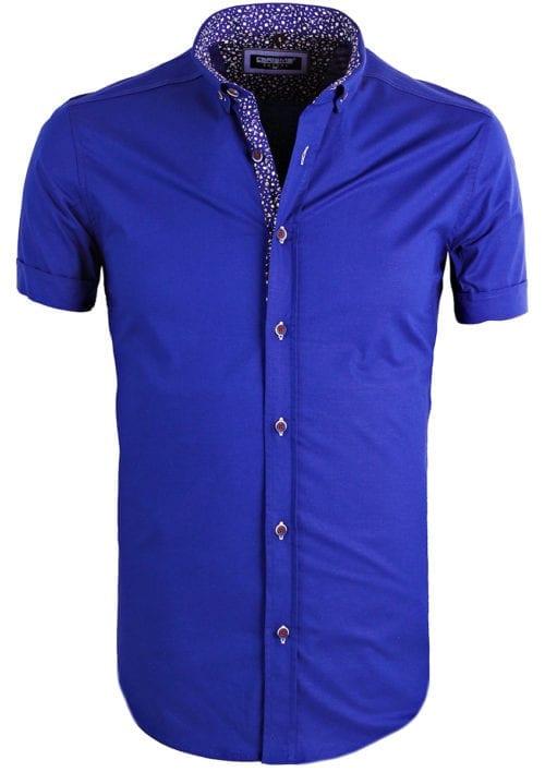 Heren-overhemd-korte-mouw-shirt-blauw-gewerkte-boord-button-down-Carisma-9094 (3)