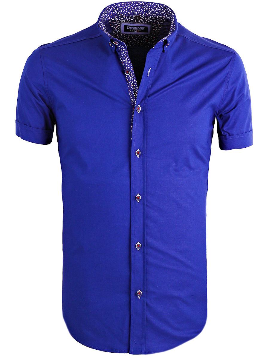 Overhemd Korte Mouw Heren.Carisma Heren Overhemd Korte Mouw Gewerkt Blauw 9094 Bendelli