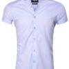 Wam Denim heren overhemd korte mouw lichtblauw bloemetjes motief Monza 75555 voorkant