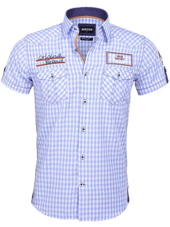 Wam denim overhemd korte mouw blauw geblokt Travisso 75572 voorkant