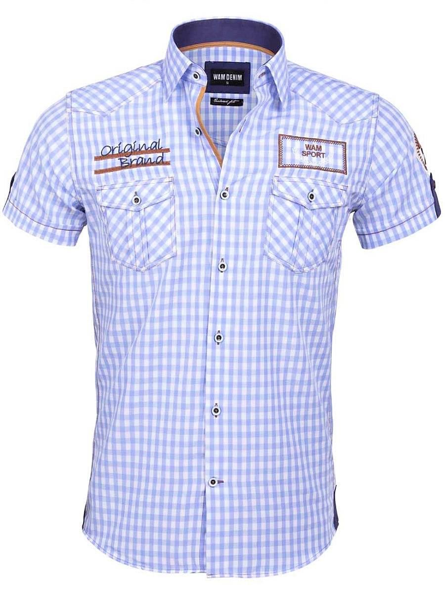 Lichtblauw Overhemd.Wam Denim Overhemd Korte Mouw Lichtblauw Geblokt Traviso 75572