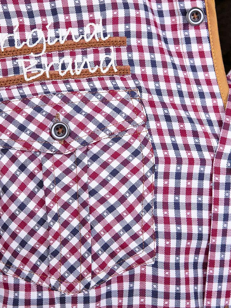 Geblokt Overhemd.Wam Denim Overhemd Korte Mouw Rood Geblokt Traviso 75572 Bendelli