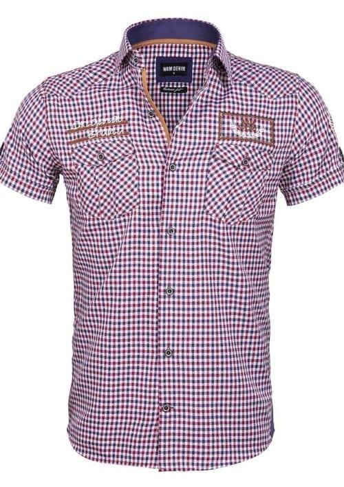 Wam denim overhemd korte mouw rood geblokt Travisso 75572 voorkant