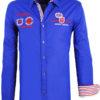 Carisma overhemd blauw heren lange mouw met print rugby league voorkant 8004