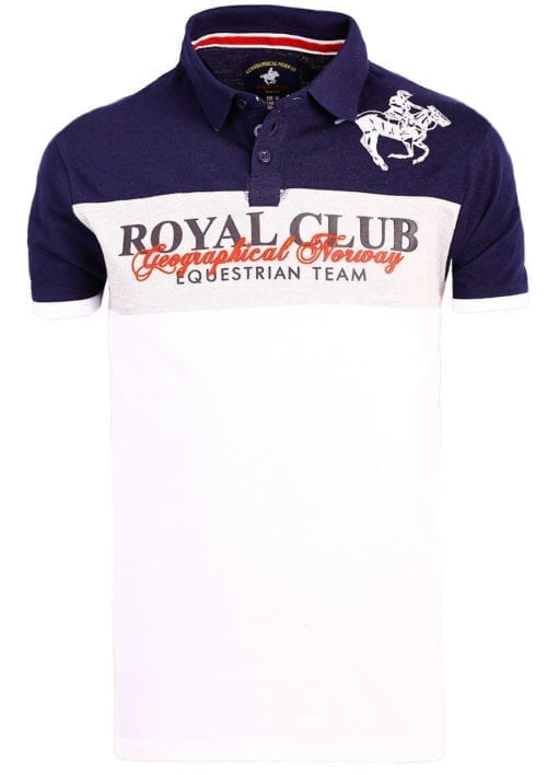 Geographical Norway poloshirt korte mouw Royal Club Kice Wit met paard (2)